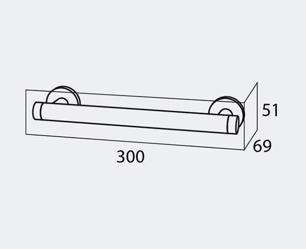 Safety Bar Straight Brushed Finish 30cm Coram Showers