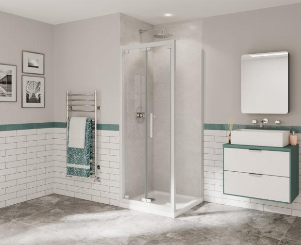 Optima 6 Bi Fold Door White Shower Enclosure Coram Showers