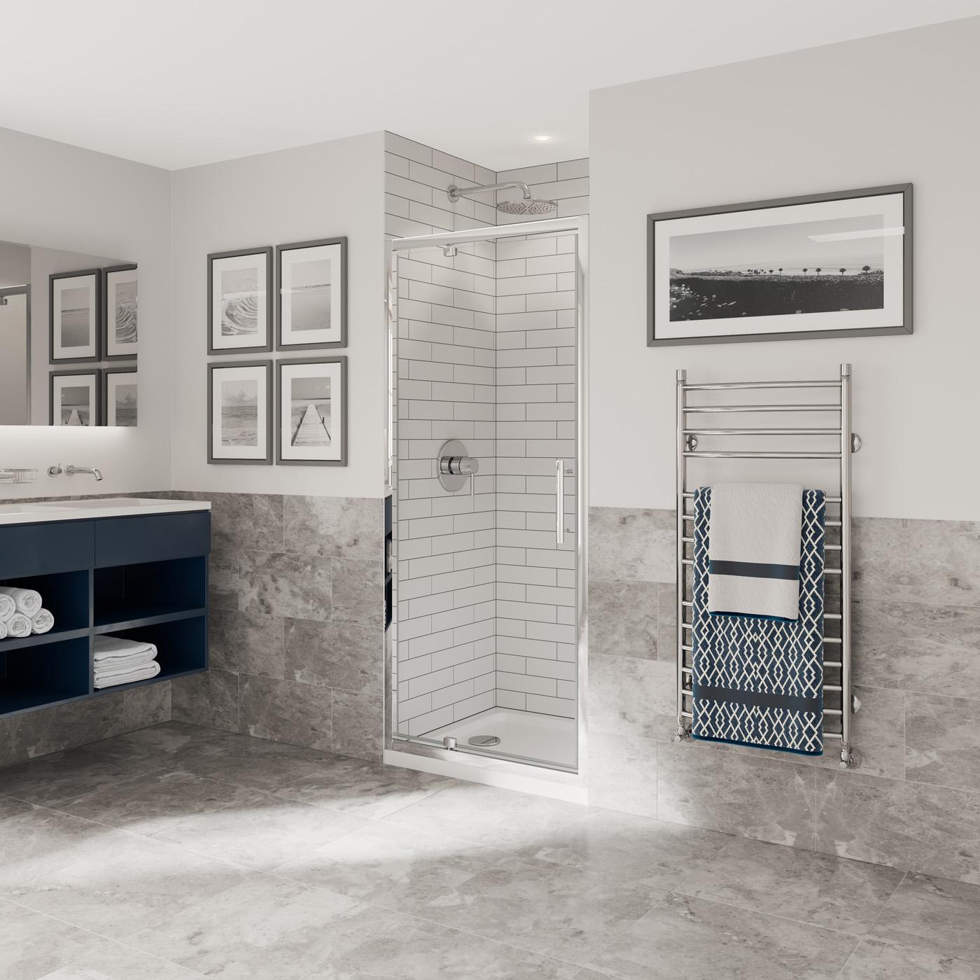 Optima 6 Pivot Door Chrome Shower Enclosure Coram Showers
