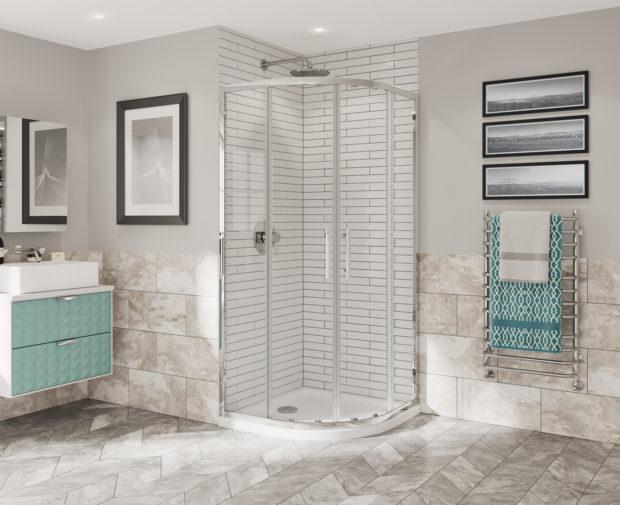 Optima 6 Quadrant Door Chrome Shower Enclosure Coram Showers