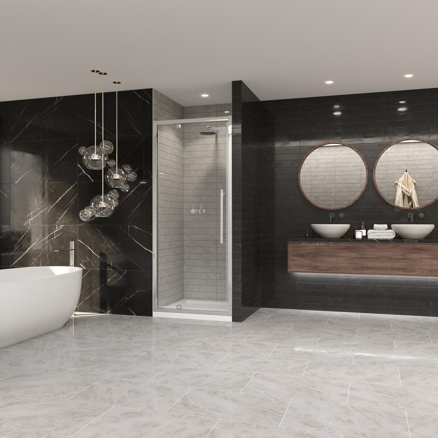 Premier 8 Pivot Door Chrome Shower Enclosure Coram Showers