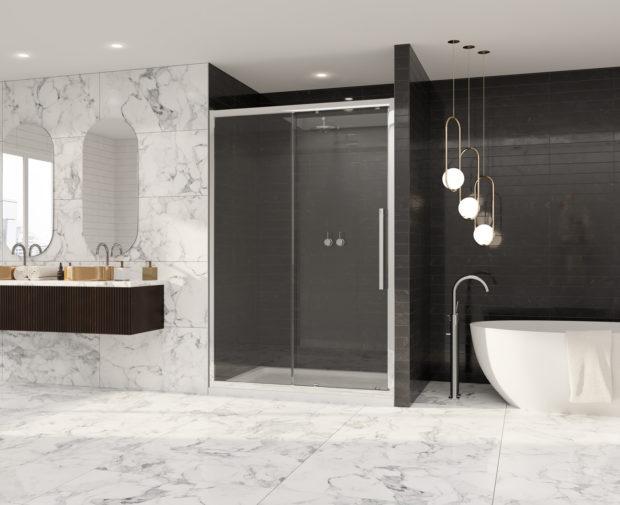 Premier 8 Sliding Door Chrome Shower Enclosure Coram Showers