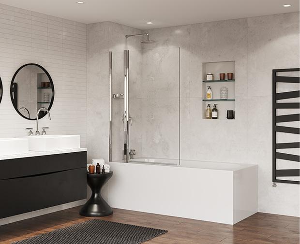 SFQ105CUC Coram Standard Bathscreen Square with Panel Chrome